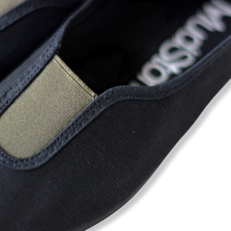 【 La Cadena 】 GIMNASIA   PANEL COLOR SLIP ON / BLACK × OLIVE / 17〜21cm