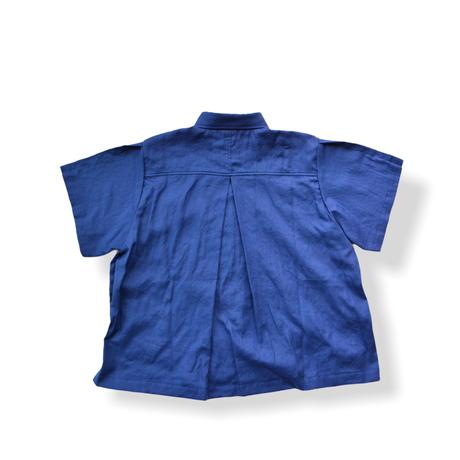 "【 UNIONINI 21SS 】BL-011 linen  big shirt  "" カラーシャツ ""  / blue / 大人サイズ"
