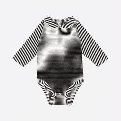 【 Gray Label 2017AW】 Baby Onesie with Collar / Nearly Black/Off White St / 70cm