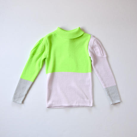"""【 franky grow 21AW 】MULTI COLOR SWELL SHOULDER HIGH-NECK KNIT """"タートルネック"""" / グリーン×パープル×グレー  / LL"""