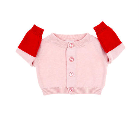 【tiny cottons 2017AW】AW17-173 color block baby cardigan /  pale pink / red