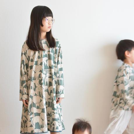 """【 ミナペルホネン 20AW 】YA8098P  life puzzle """" ワンピース""""  / moss green / 110-140cm"""