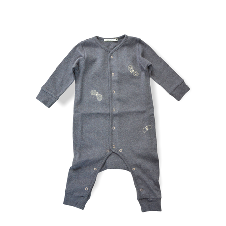 """【 ミナペルホネン 21SS 】ZS8134P choucho """" ロンパース""""  / charcoal / 70cm"""