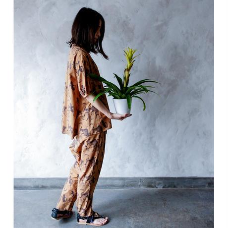 "【 michirico 21SS 】Flora and fauna pants (MR21SS-15)"" パンツ"" / キャメル / 大人サイズ"