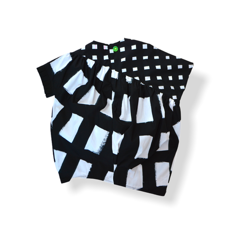 "【 franky grow 21SS 】ORIG. CHECK MIX GATHER DRESS [21SOP-169] "" ワンピース "" / WHITE-BLACK"