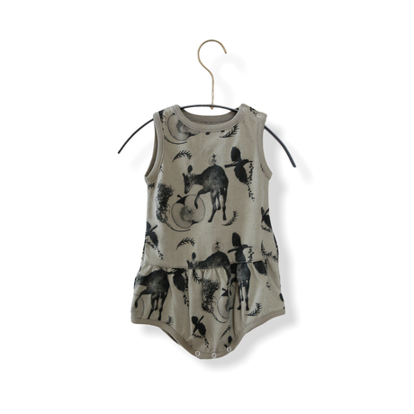 """【 michirico 21SS 】Flora and fauna rompers (MR21SS-11)"""" ロンパース"""" / ライトオリーブ"""