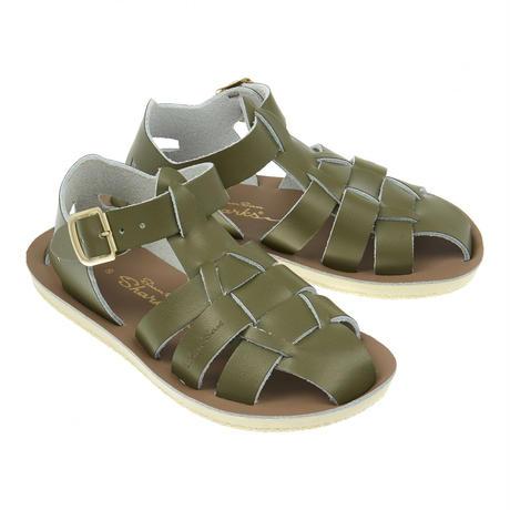 """【 Saltwater Sandals 】 海でも履けるソルトウォーターサンダル  """"Shark""""  / オリーブ / 13 - 16cm"""