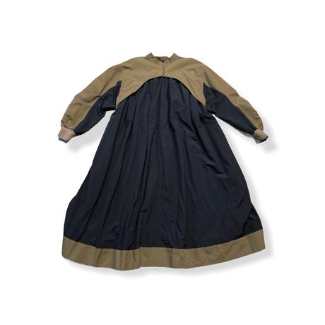 【 nunuforme 21AW 】コンビワンピース / 14-nf16-446-138 / Khaki×Navy