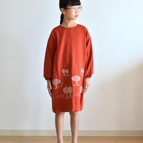 """【 ミナペルホネン 21AW 】ZA3309P mori no hoshi """"ワンピース"""" / red / 110-140cm"""