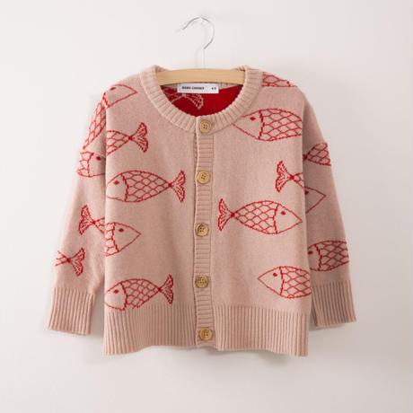 【 bobo Choses 2017AW】217111 Knitted Cardigan Shoaling Fish / 6-12ヶ月