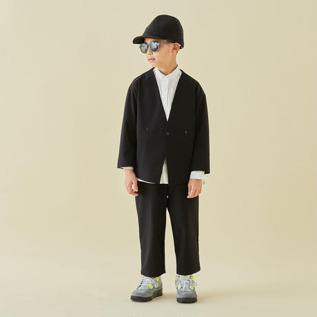 "【 MOUN TEN. 21AW 】double cloth stretch pants ""パンツ"" / ブラック / 110-140cm"