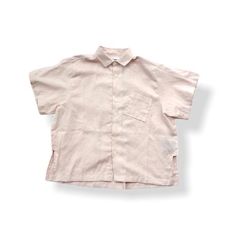 "【 UNIONINI 21SS 】BL-011 linen  big shirt  "" カラーシャツ ""  / pink / 大人サイズ"