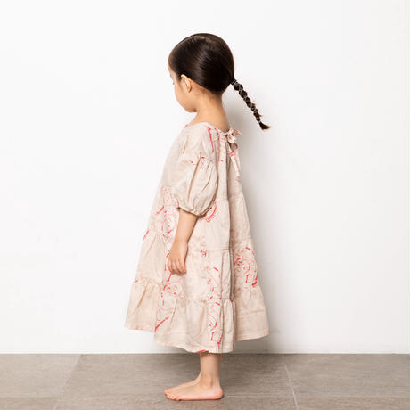 """【 folk made 21SS 】face print dress """" ワンピース """" / beige print / LL(140-155)"""