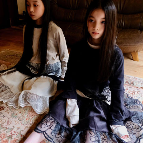 "【 UNIONINI 21AW 】teddybear long sleeved tee / CS-055 "" ロンTee ""  / black / 4 - 12歳"