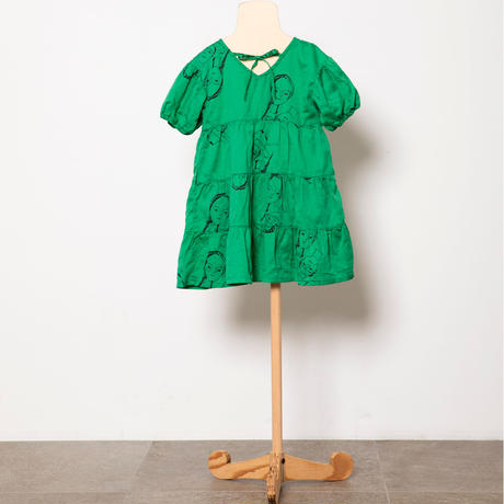 "【 folk made 21SS 】face print dress "" ワンピース "" / green print /S-L"