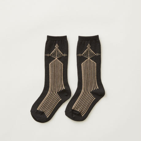 "【 eLfinFolk 21AW 】 Abies socks(elf-212A59) ""ソックス""  / charcoal / 23 - 25cm"