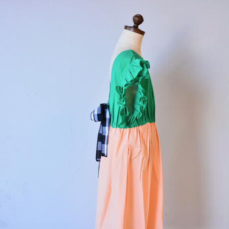 "【 franky grow 2020SS 】19SOP-154 BACK SHAN FRILL DRESS DYED "" ワンピース "" / GREEN-PINK"