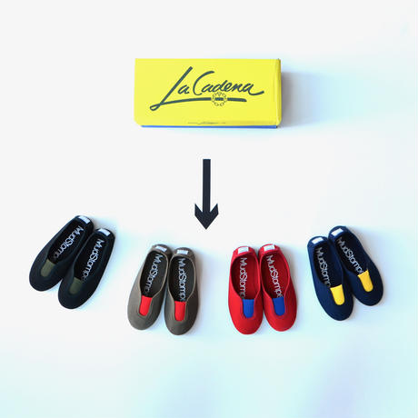 【 La Cadena 2019AW 】 GIMNASIA - Panel Slip On / RED x ROYAL BLUE / 23〜24.5cm