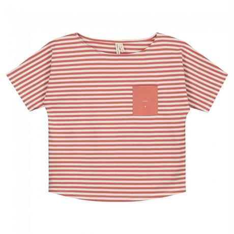 "【 GRAY LABEL 2020SS】Pocket Tee  ""ワイドTシャツ"" / Faded Red/Off White Stripe / 90-130cm"