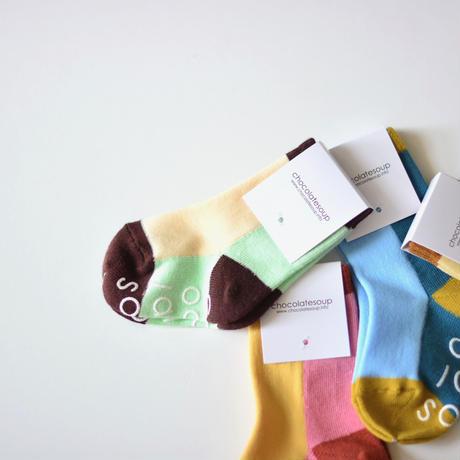 "【 Chocolatesoup 20SS 】MULTI COLOR SOX "" 靴下 "" / CAMELxPINK"