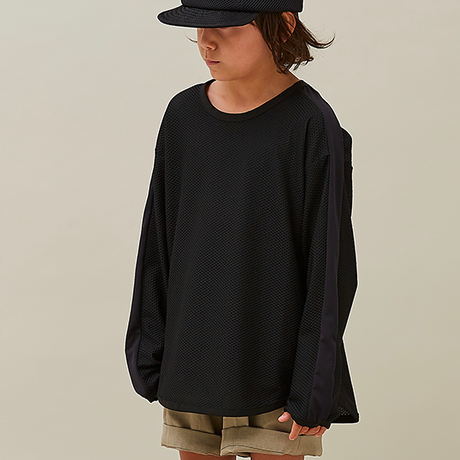 "【 MOUN TEN. 21SS 】honeycomb line longsleeve [21S-MT60-0931c] ""ロンTee"" / black / 1(Ladies F  )"