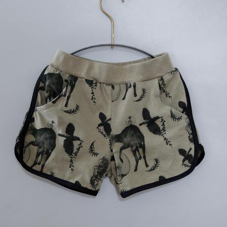 "【 michirico 21SS 】Flora and fauna short pants (MR21SS-09)"" ショートパンツ"" / ライトオリーブ / 90-115cm"