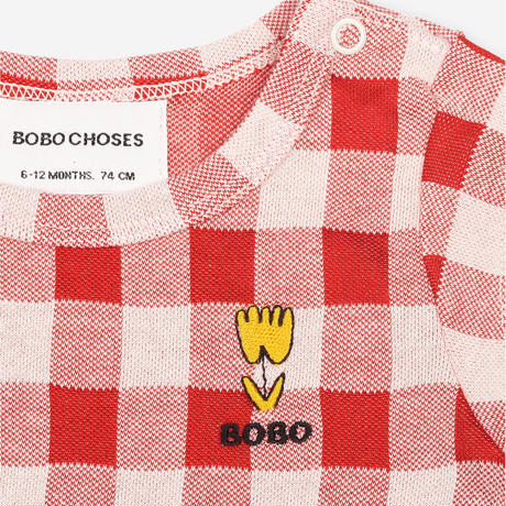 "【 BOBO CHOSES 21SS 】Vichy Short Sleeve Body(121AB021)""ロンパース"" / 6-12M"