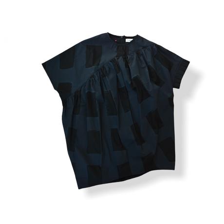 "【 franky grow 21SS 】ORIG. CHECK MIX GATHER DRESS [21SOP-169] "" ワンピース "" / BLACK-BLACK"