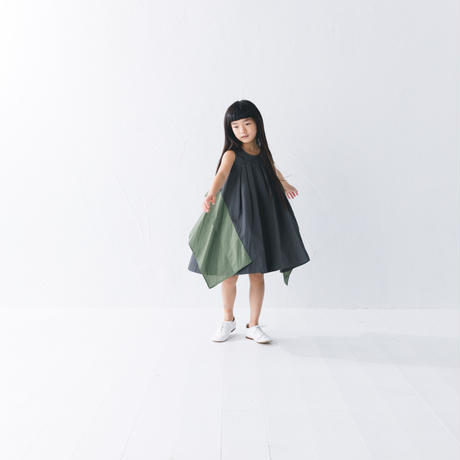 【 nunuforme 2019SS 】nf11-411-006スクエアパッチワンピース / Charcoal