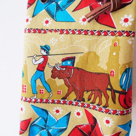 ヴィンテージクロスのマリンバッグ / 少年と牛
