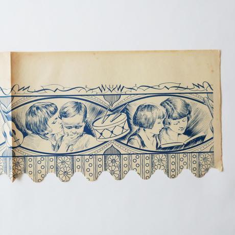 ヴィンテージの棚紙 / 楽器と子供たち(青)