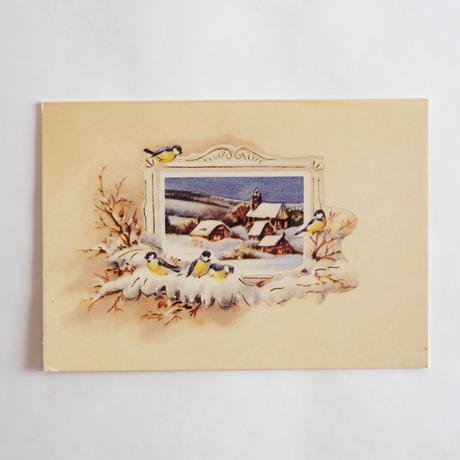 クリスマスカード/雪の村と小鳥