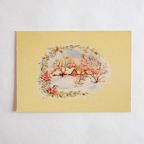 クリスマスカード/雪の村とバラ