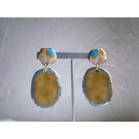 Camel earrings (Camel×Turquoise)