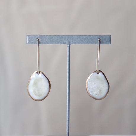 Wire Stone Earrings (Marble White)