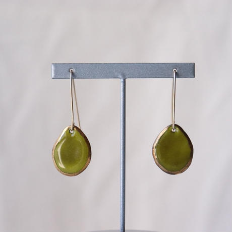 Wire Stone Earrings  (Olive)