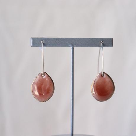 Wire Stone Earrings (Pink Orange)