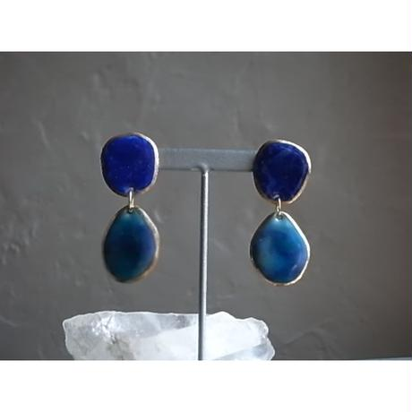【2stones earrings rose lapis blue】[PEKI!RARIGON]