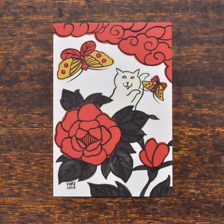 すぎはらゆり ポストカード 「花札 蝶」