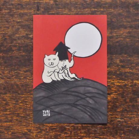 すぎはらゆり ポストカード 「花札 芒に月」