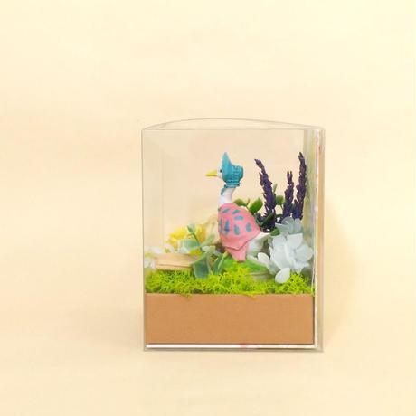 【プリザーブドフラワー】ジオラマキューブ/あひるのジマイマ