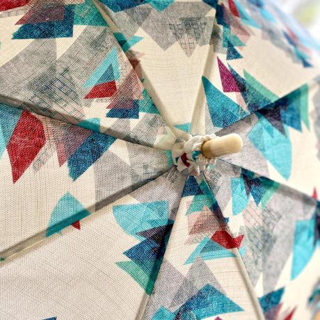 日傘(手元:白木革巻き)【山】(エメラルド・カーキ)(全2色)