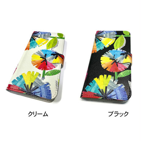 iPhone手帳型ケース【虹花】【全2色】iPhone12/12Pro/12Pro Max/11/11 Promax/XR/XSMax/8 plus/ 7 plus/6 plus/6S plus