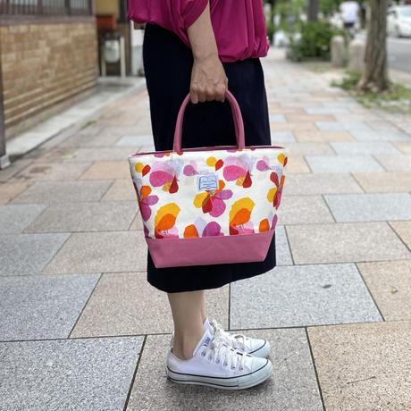 帆布コンビ[L]トートバッグ【花】(ピンク)