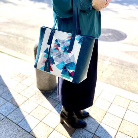 本革(革色:ディープターコイズ)コンビトートバッグ【虹花】(フルールアンシエル)【全2色】