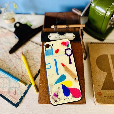 iPhone背面ガラスケース【文房具】(パプトリー)【全2色】iPhone12/12Pro/11/XR/XSMax