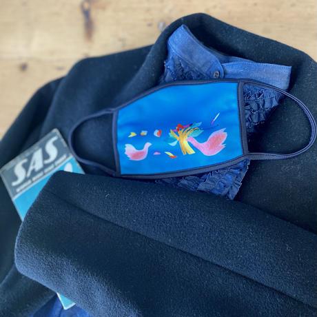 【秋冬の新色新発売】*通年用*プリントマスク(鳥ターコイズブルー・花ピンク×ブラック・花ブルー×ブラック)【全3色】