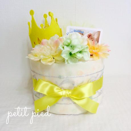 おむつケーキ1段(crown)yellow