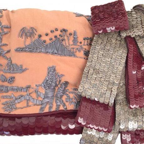 JAMIN PUECH(ジャマン ピュエッシュ)0006182 2WAYビーズ刺繍バッグ 0059.BURGUNDY