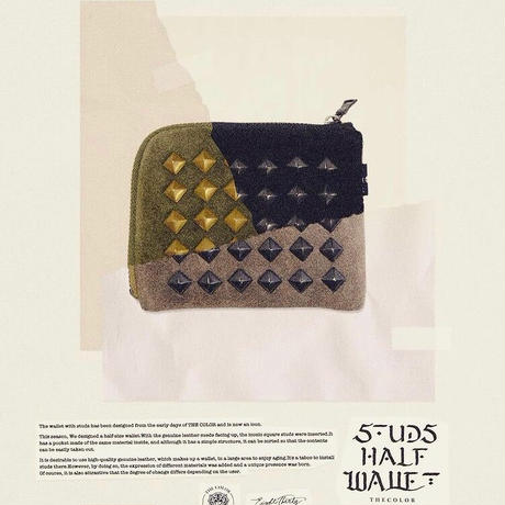 「THE UNION」 THE COLOR / STUDS HARF WALLET / color - OLIVE
